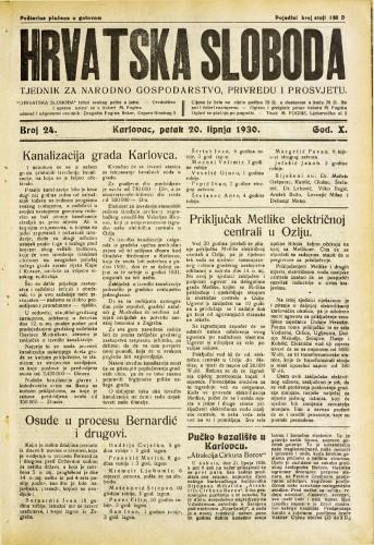 Hrvatska sloboda: 1930. • 24