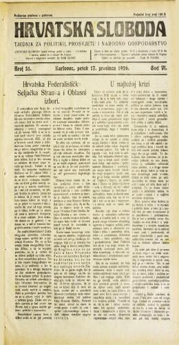 Hrvatska sloboda: 1926. • 51
