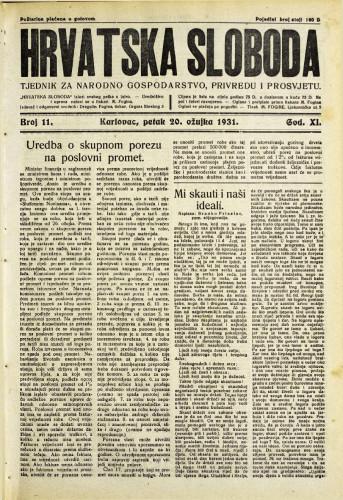 Hrvatska sloboda: 1931. • 11