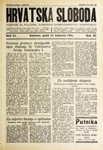 Hrvatska sloboda: 1931. • 33