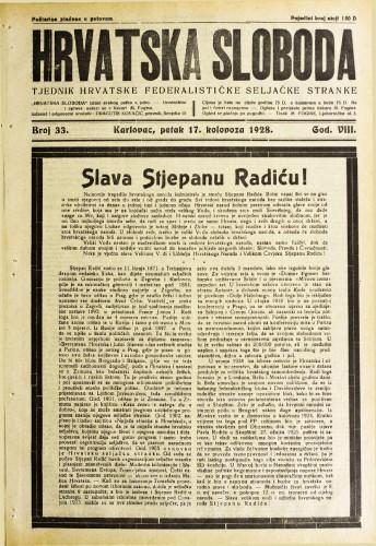 Hrvatska sloboda: 1928. • 33
