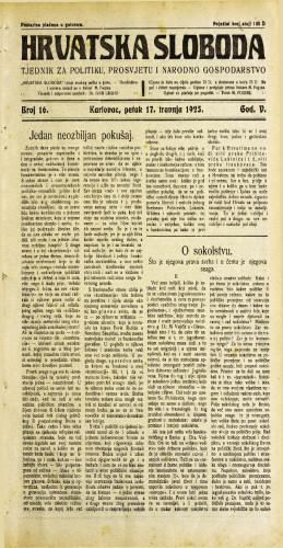 Hrvatska sloboda: 1925. • 16