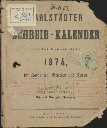 Karlstädter Schreib - Kalender – 1874.