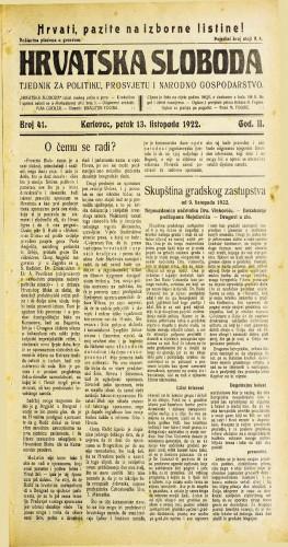 Hrvatska sloboda: 1922 • 41