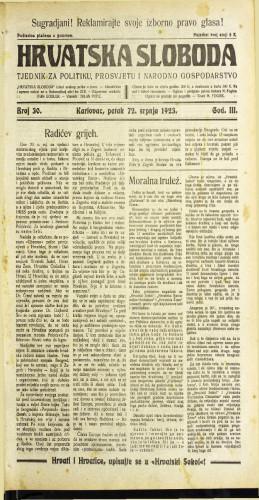 Hrvatska sloboda: 1923 • 30