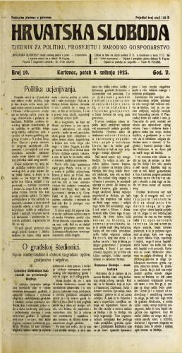 Hrvatska sloboda: 1925. • 19