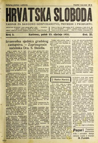 Hrvatska sloboda: 1931. • 3