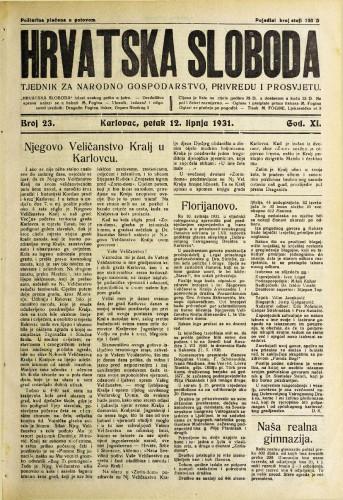 Hrvatska sloboda: 1931. • 23