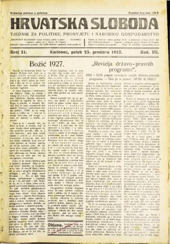 Hrvatska sloboda: 1927. • 51