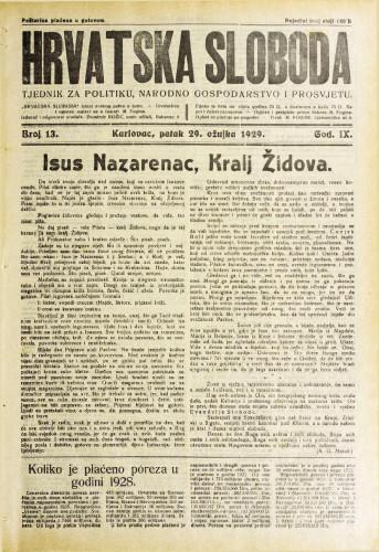 Hrvatska sloboda: 1929. • 13