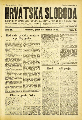 Hrvatska sloboda: 1930. • 16