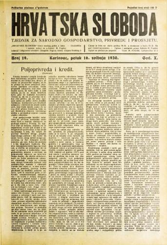 Hrvatska sloboda: 1930. • 19