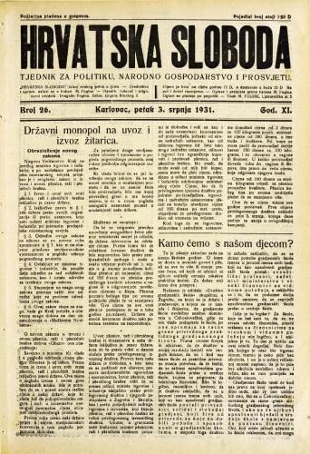 Hrvatska sloboda: 1931. • 26