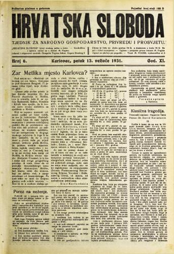 Hrvatska sloboda: 1931. • 6