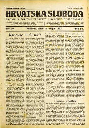 Hrvatska sloboda: 1927. • 10
