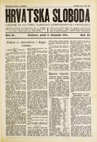 Hrvatska sloboda: 1931. • 40