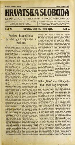 Hrvatska sloboda: 1925. • 28