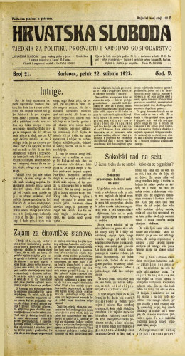 Hrvatska sloboda: 1925. • 21