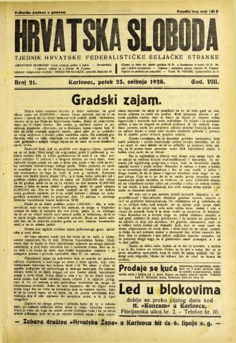 Hrvatska sloboda: 1928. • 21