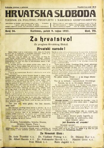 Hrvatska sloboda: 1927. • 36