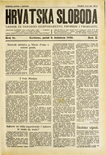 Hrvatska sloboda: 1930. • 31