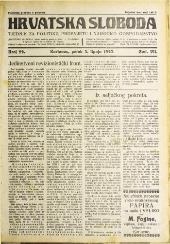Hrvatska sloboda: 1927. • 22