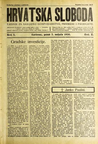 Hrvatska sloboda: 1930. • 5