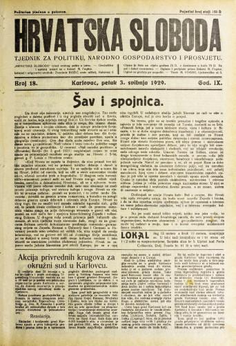 Hrvatska sloboda: 1929. • 18