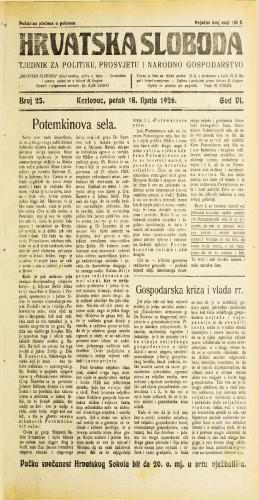 Hrvatska sloboda: 1926. • 25