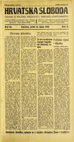 Hrvatska sloboda: 1922 • 24