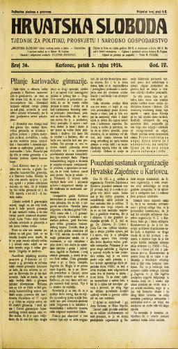 Hrvatska sloboda: 1924. • 36