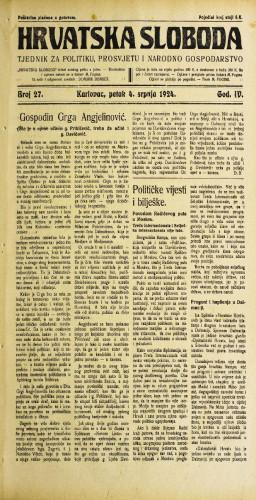 Hrvatska sloboda: 1924. • 27