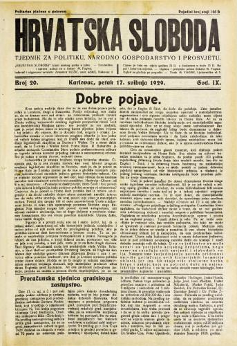 Hrvatska sloboda: 1929. • 20