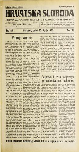 Hrvatska sloboda: 1926. • 26