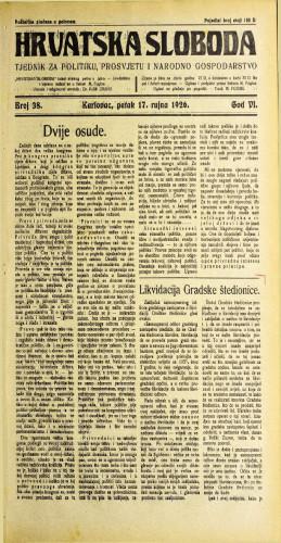 Hrvatska sloboda: 1926. • 38