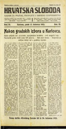 Hrvatska sloboda: 1923 • 33