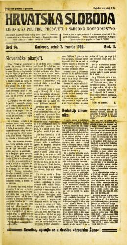 Hrvatska sloboda: 1922 • 14