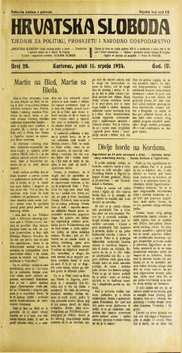Hrvatska sloboda: 1924. • 28
