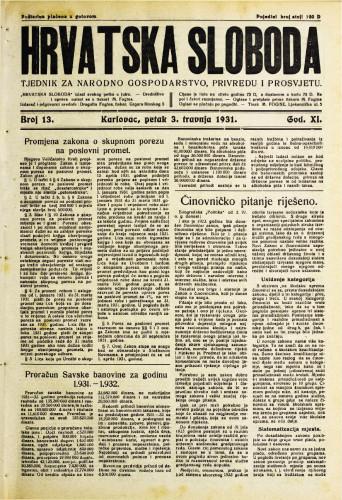 Hrvatska sloboda: 1931. • 13