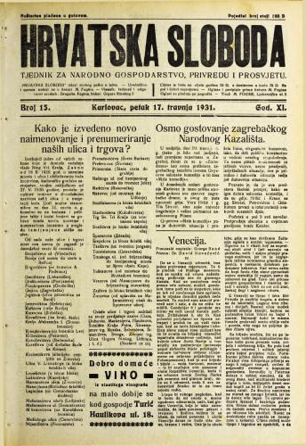 Hrvatska sloboda: 1931. • 15