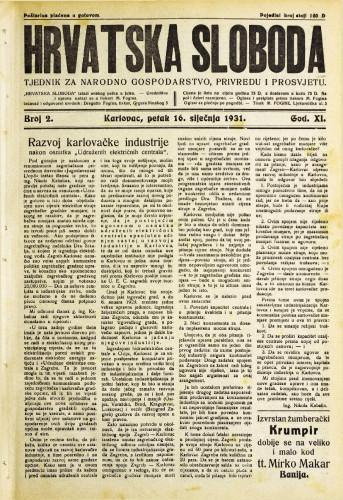 Hrvatska sloboda: 1931. • 2