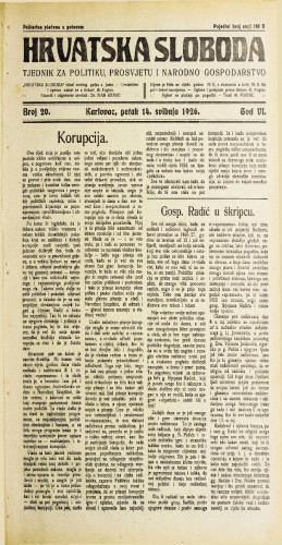 Hrvatska sloboda: 1926. • 20