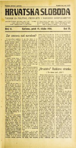 Hrvatska sloboda: 1926. • 11