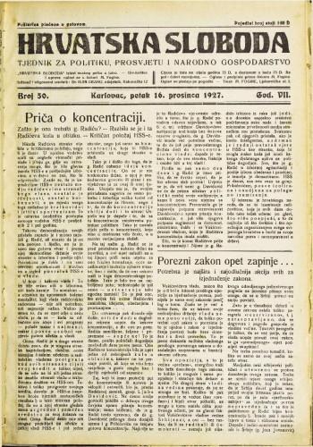Hrvatska sloboda: 1927. • 50