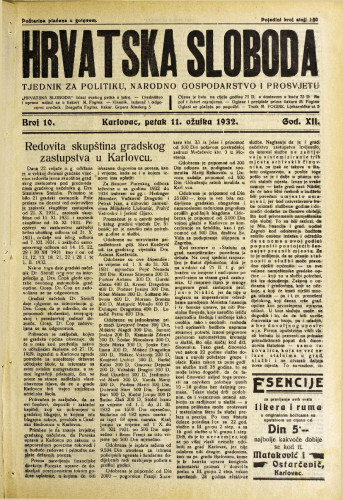 Hrvatska sloboda: 1932. • 10