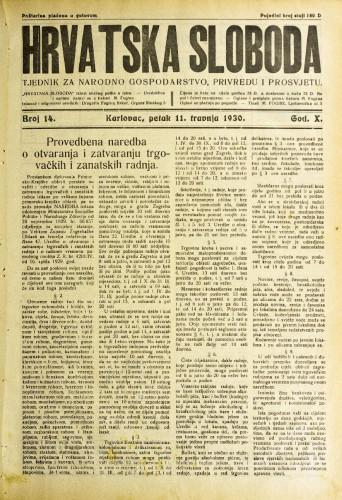 Hrvatska sloboda: 1930. • 14