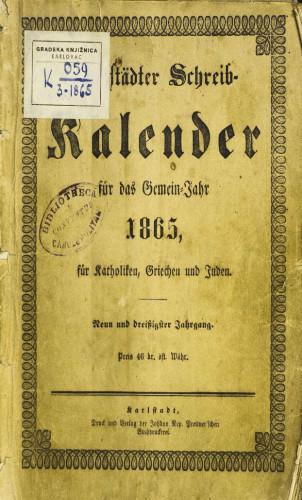 Karlstädter Schreib - Kalender – 1865