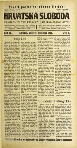 Hrvatska sloboda: 1922 • 45