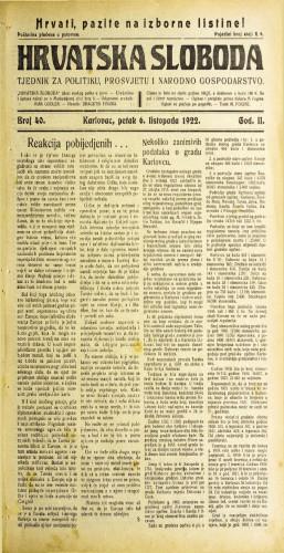 Hrvatska sloboda: 1922 • 40