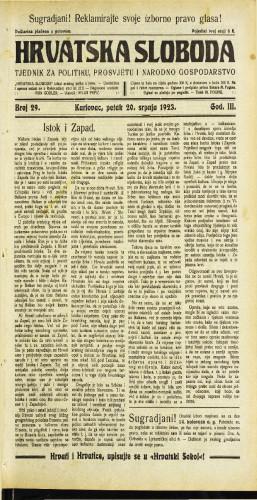Hrvatska sloboda: 1923 • 29